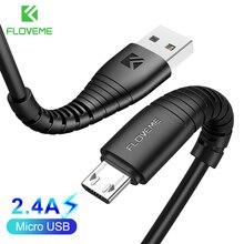 FLOVEME Micro câble Usb 5v 2.4a données de charge câble de chargeur rapide pour Samsung Xiaomi chargeur de téléphone Cabel Microusb cordon fil plat