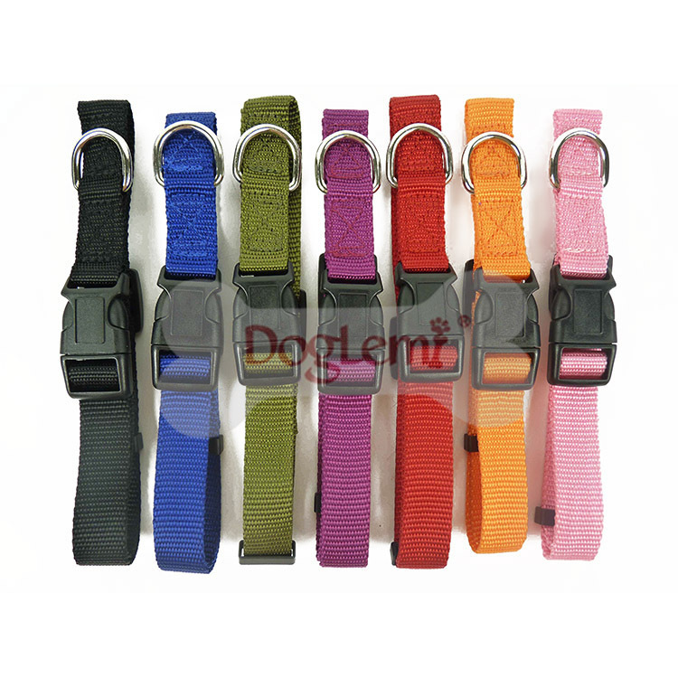 Solid Color Nylon Dog Collar Adjustable Strong Pet Traction Ring