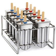 Stainless Steel Ice Lolly Popsicle Molds, Homemade Ice Makers with Tray/Reusable Bamboo Sticks/Bags/Cleaning Brush