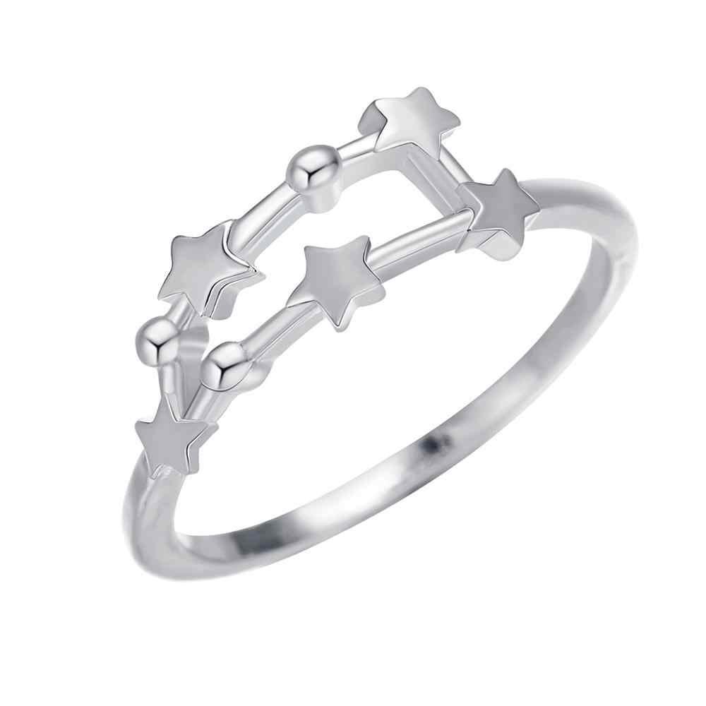 QIAMNI 12 ดาวราศีแหวน Constellation โหราศาสตร์ Galaxy แหวนวันเกิดมิตรภาพของขวัญ Bague