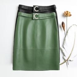 ميدي تنورة منقوشة عالية الخصر للنساء 2019 موضة جديدة الأخضر والأسود الصلبة جلد الغنم التنانير لمكتب تنورة الكورية