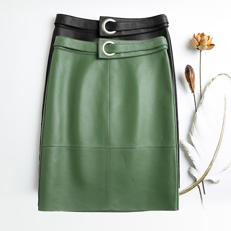 Midi High Waist Plaid Skirt Women 2019 New Fashion Green And Black Solid Sheepskin Leather Skirts For Office Korean Skirt