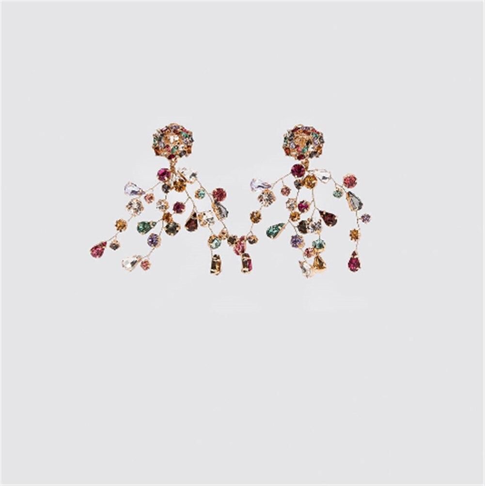 Brincos com pingente de gema colorida 2019 za, joias de presente de natal com folha boho