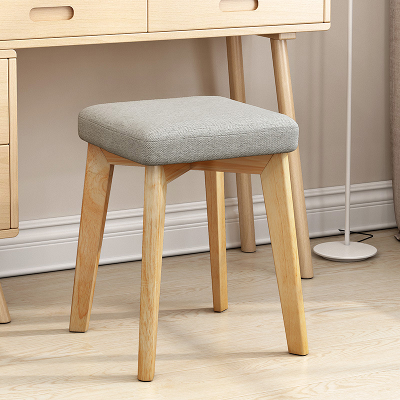Small Square Stool Fashion Creative Modern Makeup Simple Solid Wood Chair Household Can Deng Adult Fabric Soft Surface Low Stool