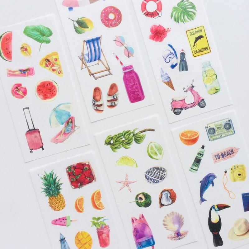 6 Sheet Summer Hawaii Vacation Washi Paper Decorative Adhesive Stickers