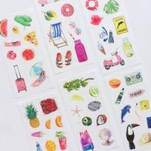Pegatinas adhesivas decorativas de papel Washi, 6 hojas, para vacaciones en Hawai, Verano
