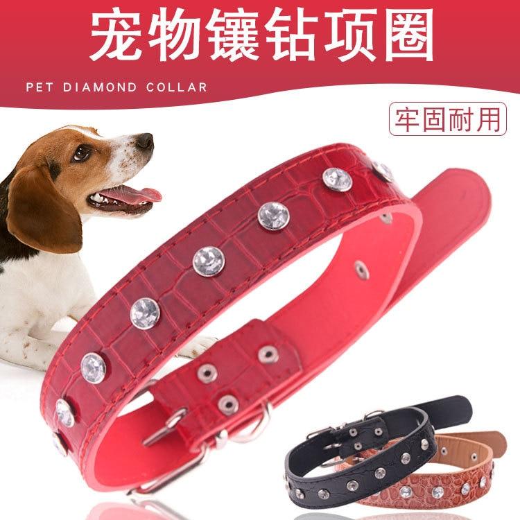 Pet Dog Neck Ring Single Row Top Grade Crystal Rhinestone Artificial Leather Dog Neck Ring Pet Supplies Pet Dog Collar