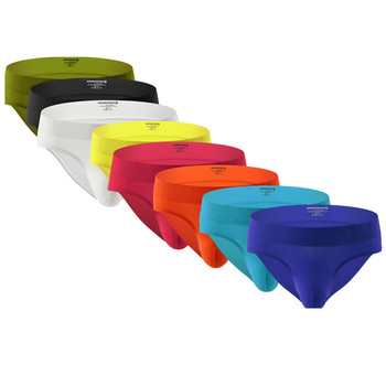 8PCS Men's Sexy Breathable Underwear Comfortable Briefs Seamless Underwear U Convex Pocket Ultra-thin Underpants Male Low Waist