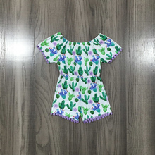 Jumpsuit Girlymax One-Piece Short-Sleeve Milk-Silk Ruffle Baby Kids Cotton Summer Cactus