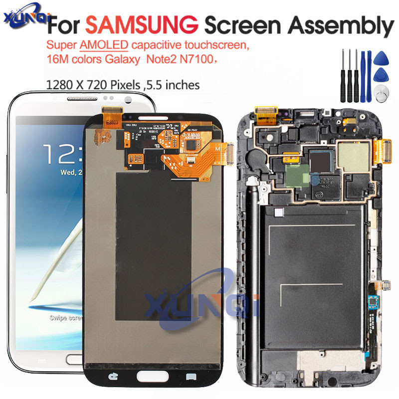 SUPER AMOLED 5.5'' LCD for Samsung Galaxy Note 2 LCD N7100 Note2 N7105 Display Touch Screen Digitizer Assembly Replacement Parts image