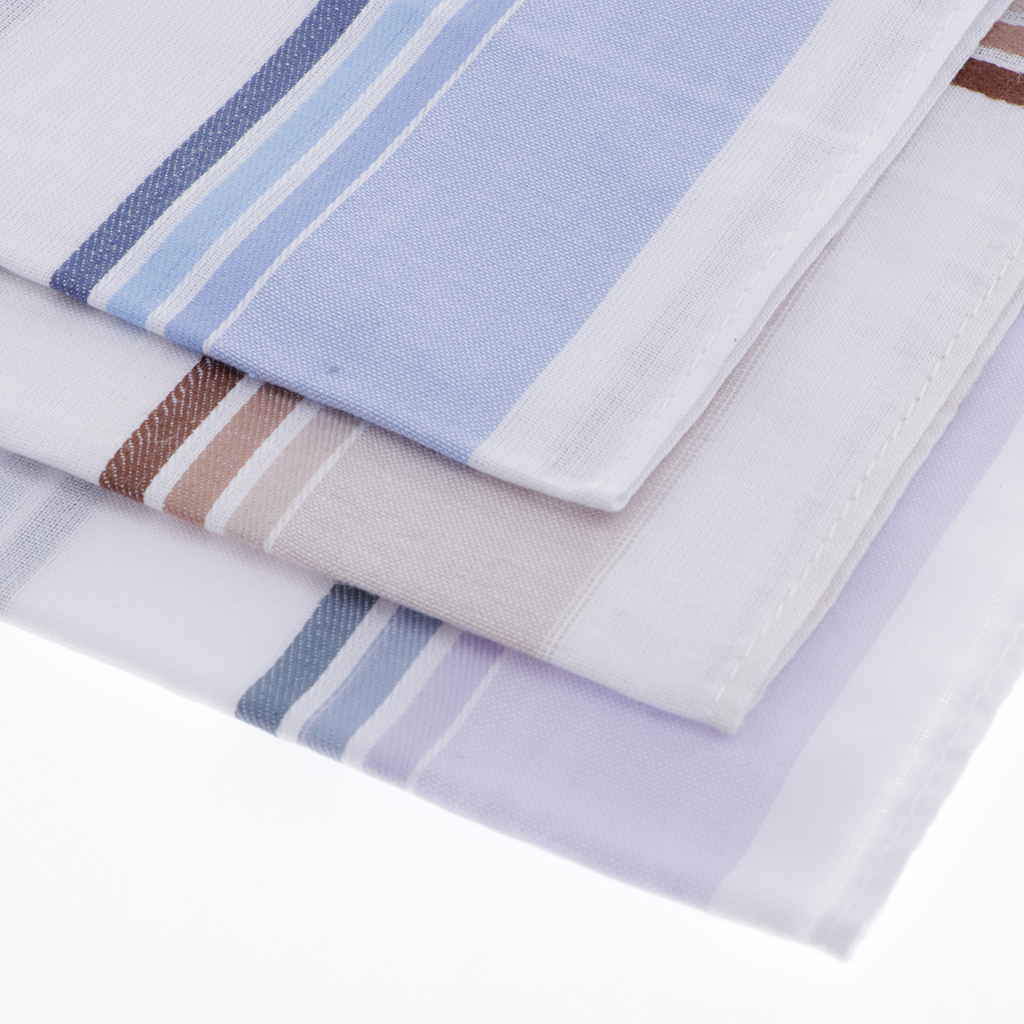 Set Of 3 High Quality Cotton Handkerchiefs For Men, Simple And Classic Plaid Design