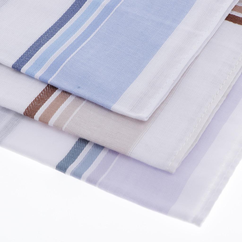 Set Of 3 High Quality Cotton Handkerchiefs For Men, Simple And Classic Plaid Design