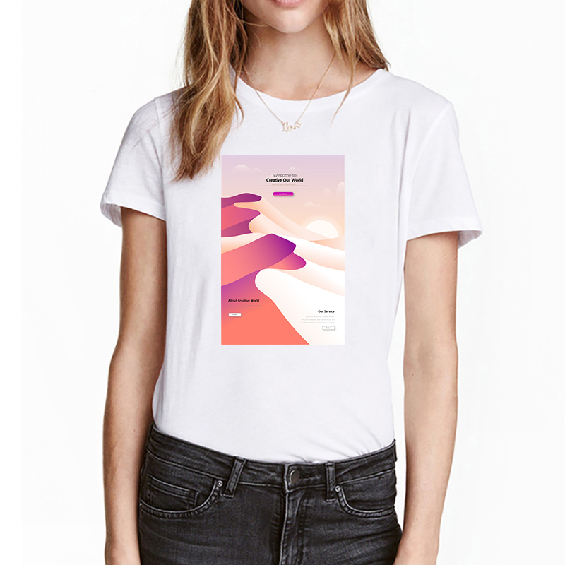 Mountain Pattern Print T Shirt Women Short Sleeve O Neck Loose White Tshirt 2019 Summer Women Tee Shirt Tops Camisetas Mujer
