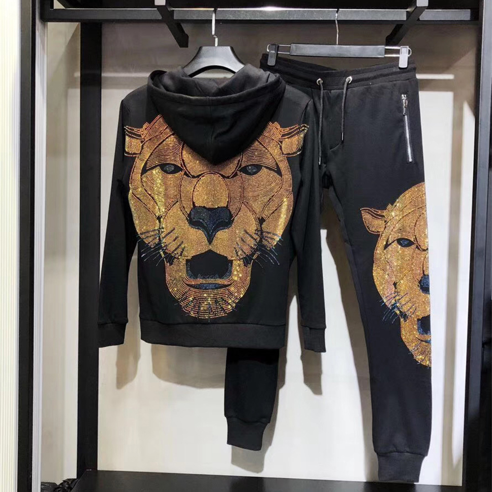 Brand Clothing Men's Rhinestone Big Lion SweatPants Sweatshirt Contrast Jogging Zip Full Tracksuit Hoodies Fleece Joggers Set