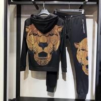 Brand Clothing Men's Rhinestone Big Lion SweatPants Sweatshirt Contrast Jogging Zip Full Tracksuit Hoodies Fleece Joggers Set