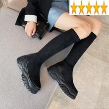 Kobiety kolana jesień moda jednolity kolor Slip-On prawdziwej skóry buty platformy wysokie obcasy zimowe stado czarne długie buty tanie tanio SICCSAEE CS (pochodzenie) Podkolanówki Platforma Stałe Wysokość zwiększenie Podstawowe Mikrofibra Flock Okrągły nosek