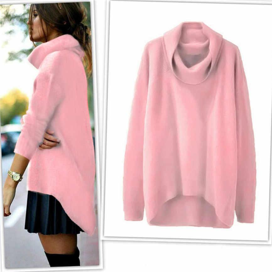 패션 여성 스웨터 단색 높은 칼라 불규칙한 밑단 긴 소매 풀오버 느슨한 일일 스웨터 가을 겨울 여성 스웨터 탑