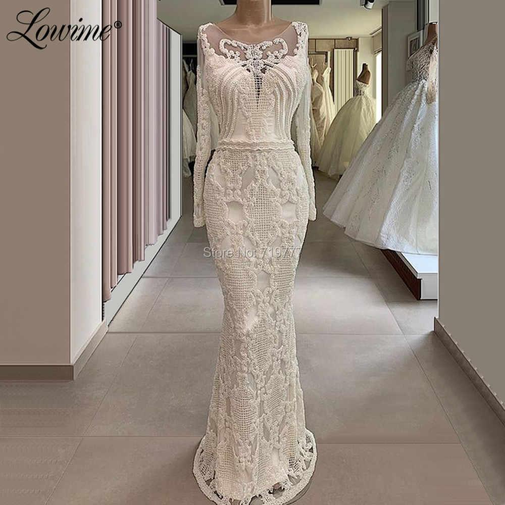 Elegant Mermaid Evening Dress Abendkleider Saudi Arabic Prom Dresses Formal  Gowns Ivory Long Sleeves Vestidos De Gala Party Gown