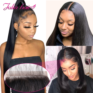 Image 1 - Brazilian Straight Lace Closure Free Part 150% Density Julia Lace Closure Pre Plucked If Middle/Three Part Closure Contact US