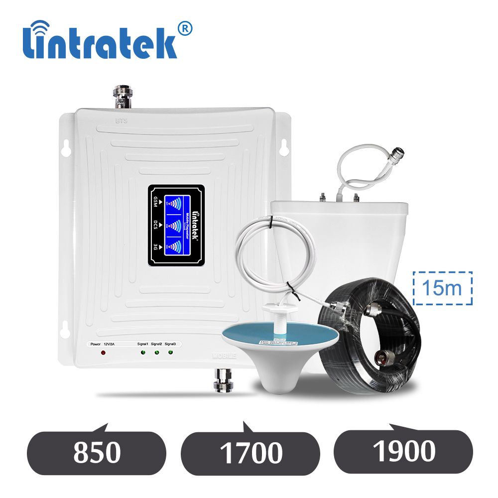 Lintratek 850 1700 1900 ALC Tri Band Repeater CDMA GSM 850mhz AWS B2 B4 3G 4G Cellular Mobile Phone Signal Amplifier Booster Set