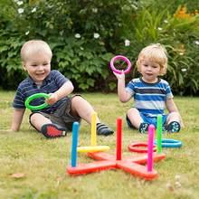 1 conjunto de anel de argola ao ar livre jogar quoits cruz jardim jogo piscina para crianças presente anel plástico jogando virola engraçado crianças esporte brinquedos