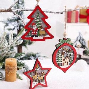 Рождественские украшения, деревянный подвесной светодиодный светильник, Санта-Клаус, рождественские украшения для дома, украшение для елки, подарок для детей, деревянные поделки