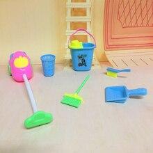 6шт мебель игрушки дом мебель уборка чистящее средство комплект для детей дом набор забавный пылесос чистящее средство швабра метла набор