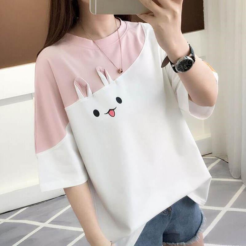 Cartoon Cute Female T Shirt Harajuku T-shirts Women Summer Short Sleeve Casual Clothing Tee Tops Camiseta Feminina O-neck Letter