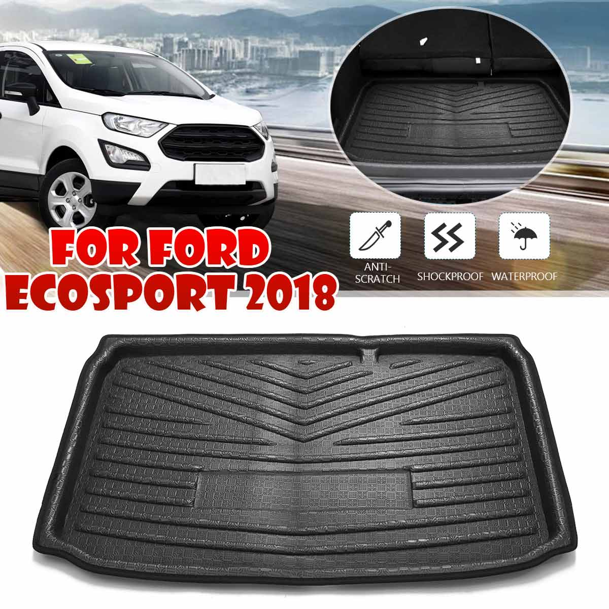 Rear Trunk Cargo Boot Liner Tray Floor Mat  For Ford EcoSport 2018 2019 2020+ Floor Carpet Luggage Tray Black Auto Accessories