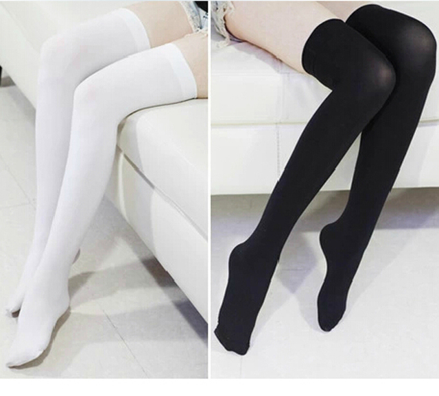 White Stockings Women Fashion Long Stock Over Knee High Temptation Stretch Stocks Long Stocking Women Solid Thigh High Stocking