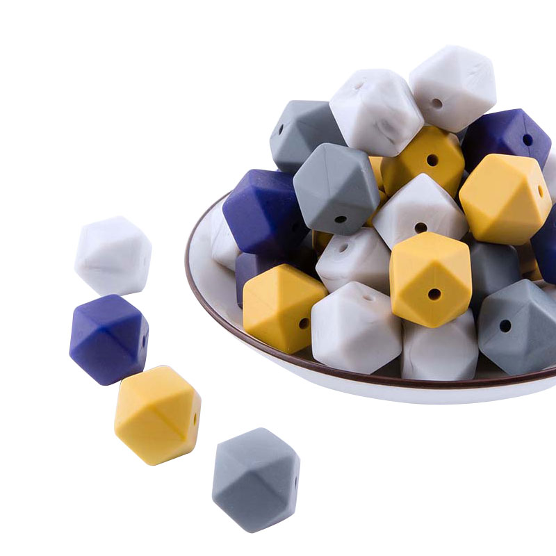 Silicone Beads Hexagon Beads 14mm 10pc Food Grade Silicone Teether DIY Pacifier Clips Beads Necklace Baby Teether Let's Make