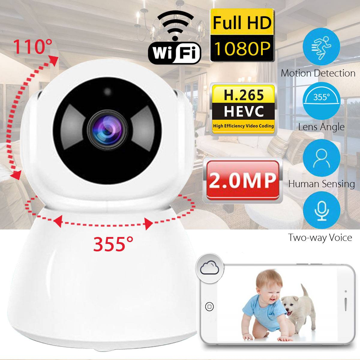Safurance WiFi HD 1080P Wireless IP Camera CCTV Indoor Home Security Webcam baby monitor nany With IR Night Vision Surveillance