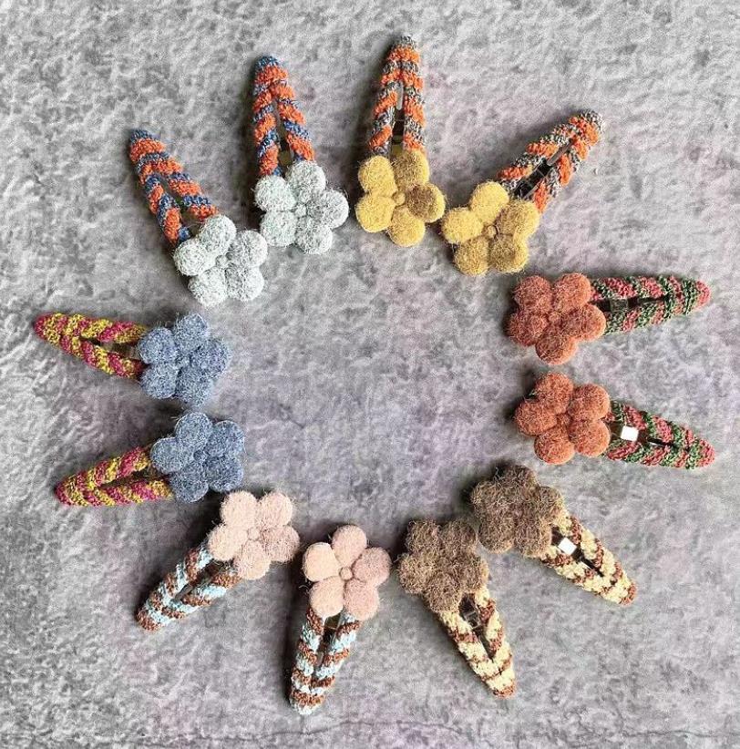 6/12pcs/set Korean Cute Fur Pompom Ball Hair Clips Barrettes For Baby Children Flower Hairpins Headwear Women Hair Accessories