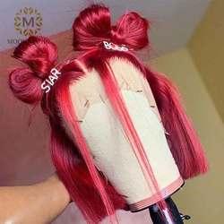Парик с тупым вырезом Ombre, кружевной передний парик, яркие цветные человеческие волосы, парики с коротким Бобом, парики с фронтальным кружев...