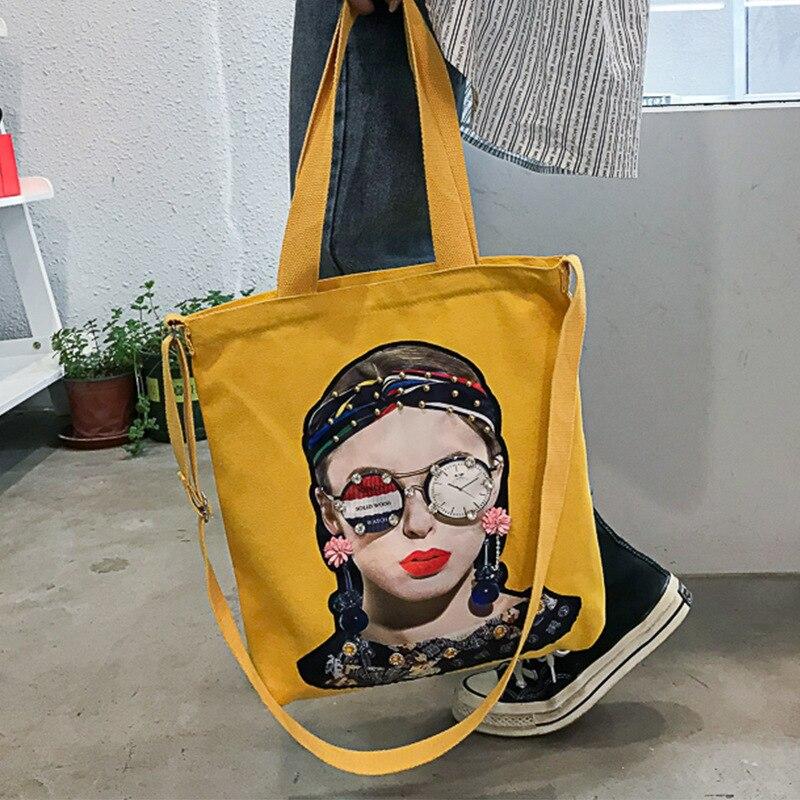 PURFAY Cool Girl Canvas Women Shoulder Bag Cotton Tote Shopper Bag Eco Reusable Shopping Bag Handbag Cloth Messenger