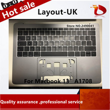 "Original A- 13"" A1708 Gray Grey full Topcase UK Keyboard for Macbook Pro 13″ A1708"