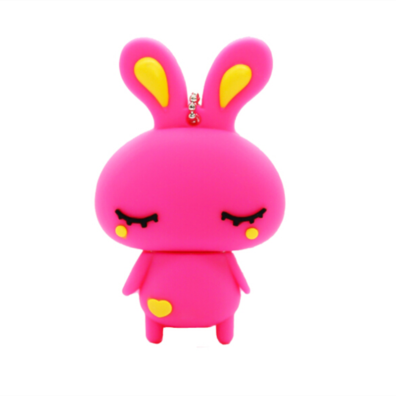 Cute Pink Rabbit USB Flash Drives 64GB Mini Pendrive 128GB 32GB 4GB 8GB 16GB 256G Personality Memory Stick Pen Drive Flash Gifts