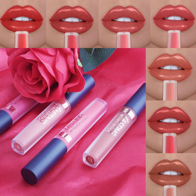 QIBEST 15 Farben Sexy Flüssigkeit Lippenstift Wasserdicht <font><b>Matte</b></font> Lippenstift Long Lasting Lip Gloss Make-Up Nude Lipgloss Professionelle Make-Up image