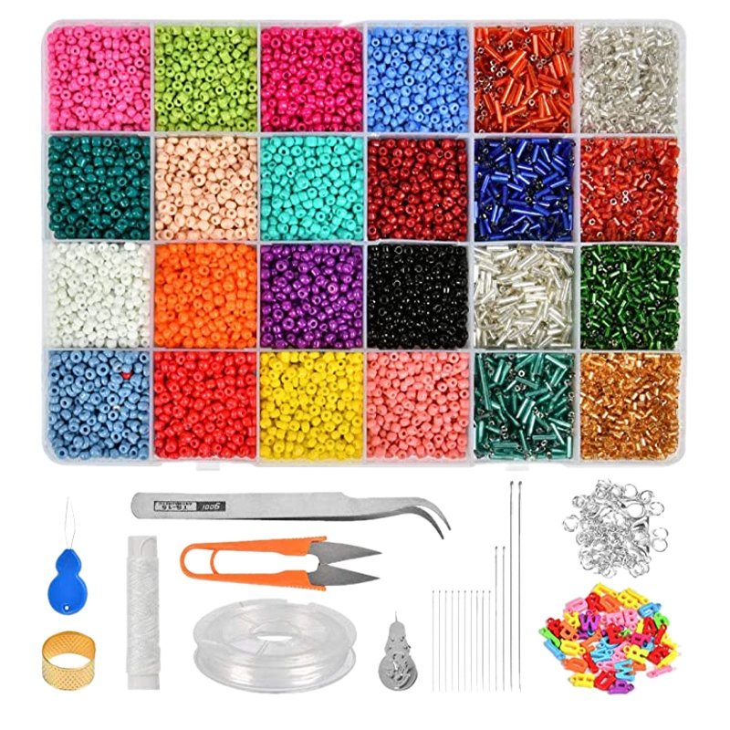 14126PC Bead Kit Mixed Color Glass Bead DIY Bracelet Necklace Material Bracelet Jewellery Making And Crafts For Bracelet Elastic