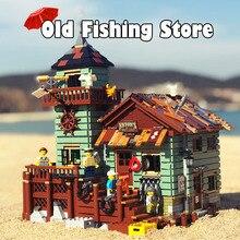 16050 идеи, серия из фильма, старый магазин для рыбалки, пляжный домик для отдыха, строительный блок, кирпичи, игрушки, подарок для детей, 21310