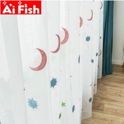 Proste nowoczesne haftowane luksusowe różowy księżyc gaza dzieci zasłony do sypialni salon balkon partycji zasłony z tiulu MY223 #5