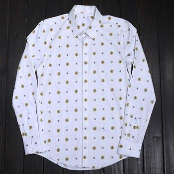 New original yellow round dot little bee men's shirt fashionable white man shirt Leisure long sleeve business nightclub tops