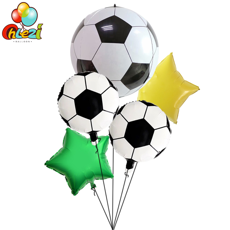 5pcs <font><b>22</b></font> inch 4D Football balloons <font><b>birthday</b></font> party decorations kids toys 18 inch Football Foil balloon Adult bar Helium Globos image