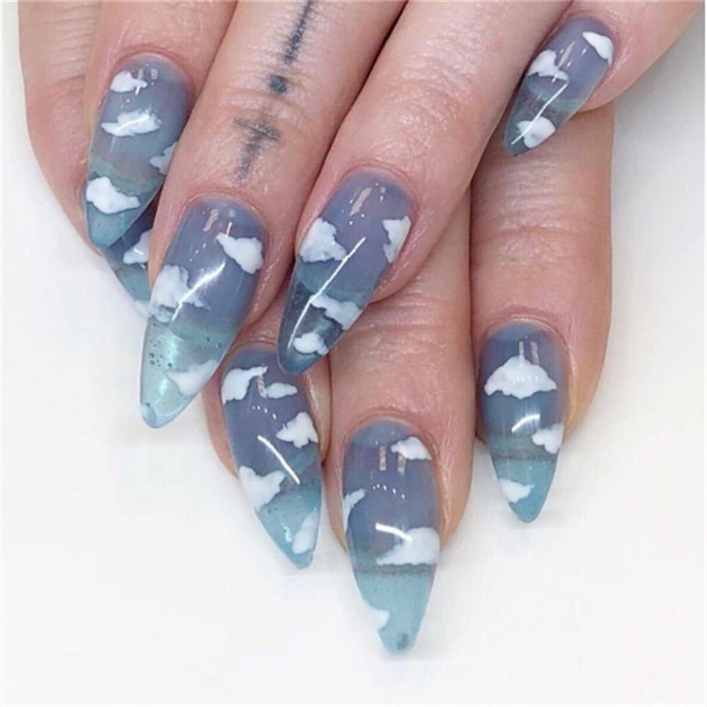 24Pcs/set Stiletto Shape Fake Nails Sky Blue Love Beach Love Summer Glitter Pointed Ladies Press On Designed Nail Tips Cloud