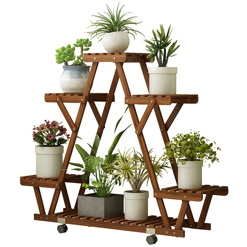 Anti-corrosion Wood Flower Stand Rack Floor Flower Shelf Indoor And Outdoor Solid Wood Living Room Balcony Meat Rack