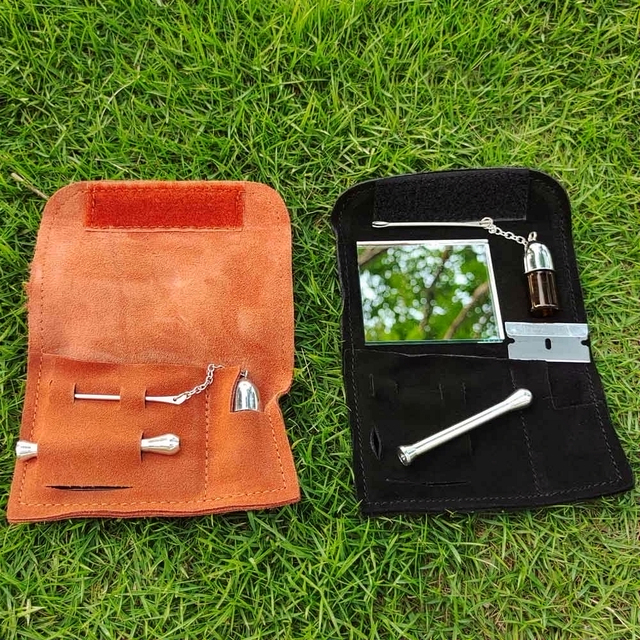 HORNET 100% Genuine Leather Tobacco Pouch Bag+Snuff Snorter Tool Sniffer Straw Hooter Hoover Pouch Bag Pipe Case Pocket