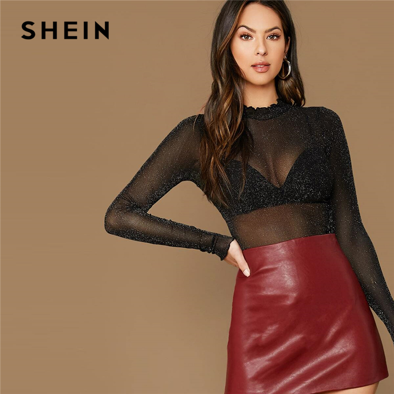 SHEIN Black Lettuce Trim Stand Collar Glitter Mesh Sexy Top Without Bra Women Top Autumn Long Sleeve Solid Party Sheer T-shirts