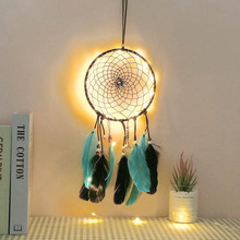 LED Handmade Dream Catcher Feathers Lace Night Light Inroom Wall Hanging Decorative Home Decor Floating Tassel Feather D40
