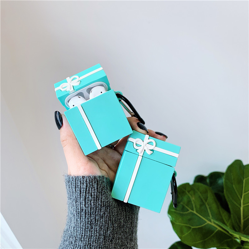 Cute Tiffany Blue Bow Gift Box Packaging Headphone Cases For Apple Airpods 1/2 Silicone Protection Earphone Cover Accessories