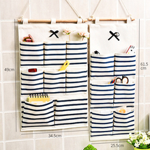 Linen Cotton Hanging Organizers Striped Multi-pockets Wall Mounted Storage Bag Door Closet Pouch Multilayer